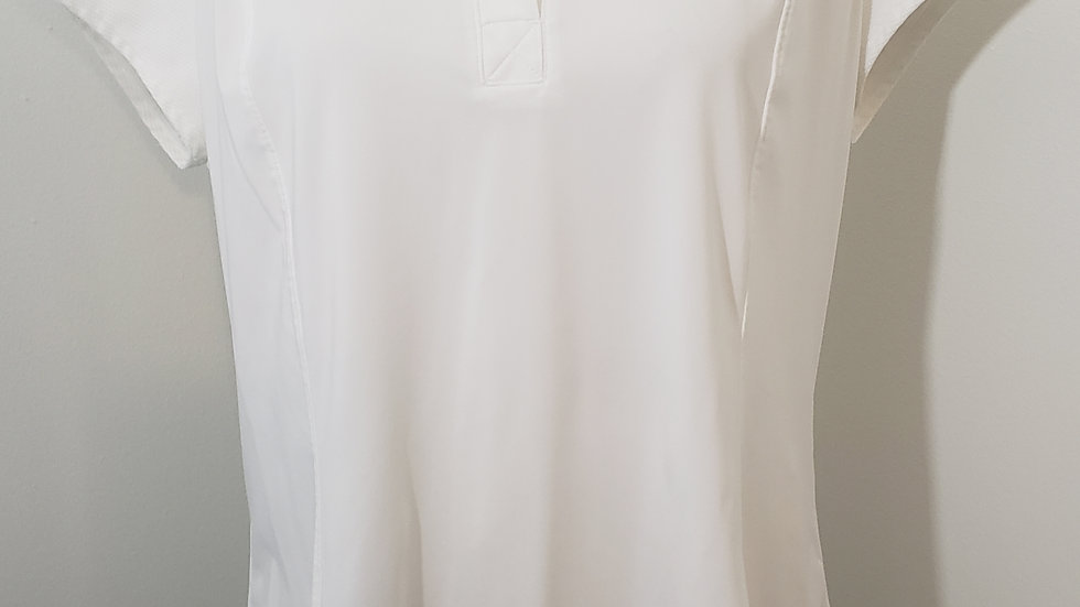 Athleta On Par Polo Solid White Short Sleeve V Neck Collared