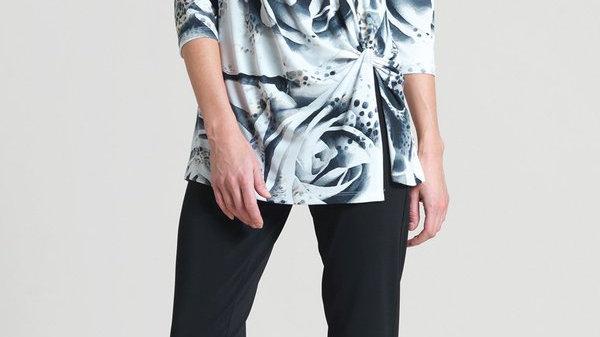 Clara Sunwoo White Rose Print Twist Front Hem Tunic