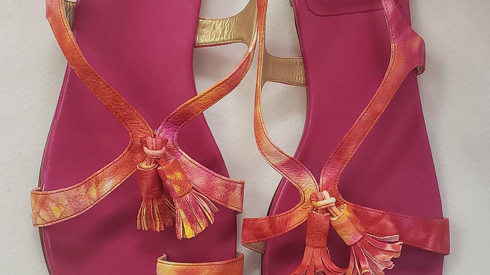 Stuart Weitzman Tassel Strap Sandal W/ Toe Ring Pink