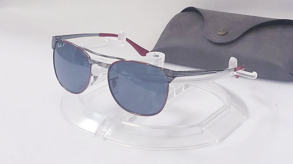 RAY-BAN JR RJ 9540S 218/2V RED SILVER POLARIZED SUNGLASSES AUTHENTIC 49-17 /Case