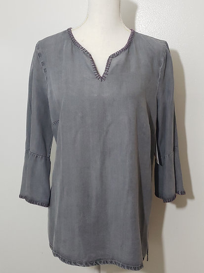 Coldwater Creek Grey V Neck 1/2 Bell Sleeve Contrast Accent Tunic