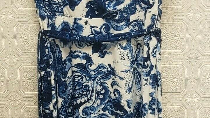 Ralph Lauren Blue Floral Fully Lined V Neck Belted Tea Length A-Line Dress