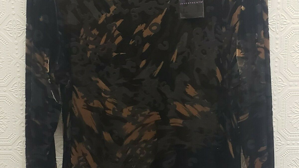 Investments Mixed Camo Velvet Round Neck Long Sleeve Top