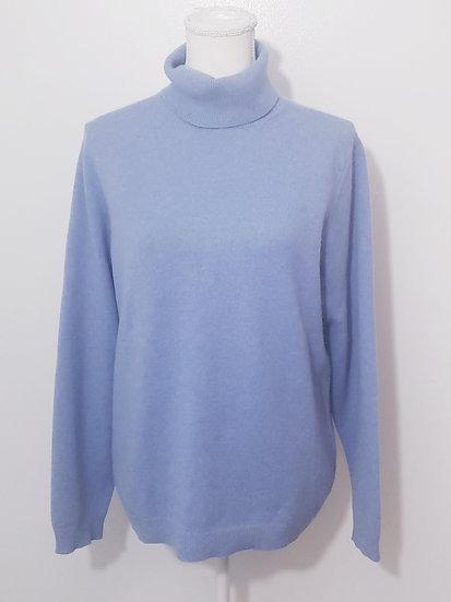 Lands End Blue Turtleneck Long Sleeve Cashmere Sweater