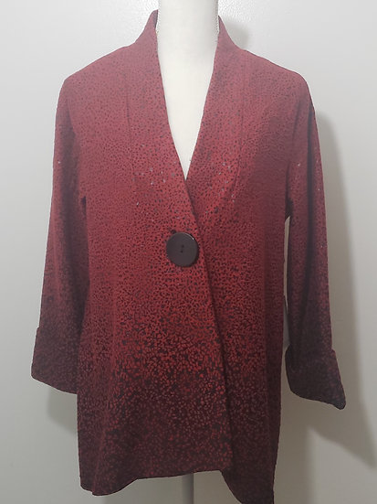 Ali Miles Red Single Button Asymmetrical Hem V Neck Long Sleeve