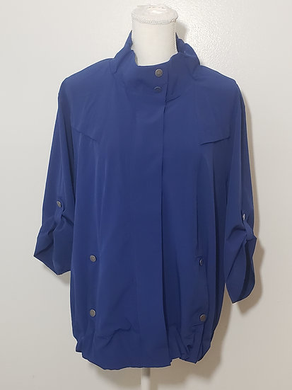 Chico's Blue Light Weight Button / Zip Front Short Sleeve Nylon Jacket