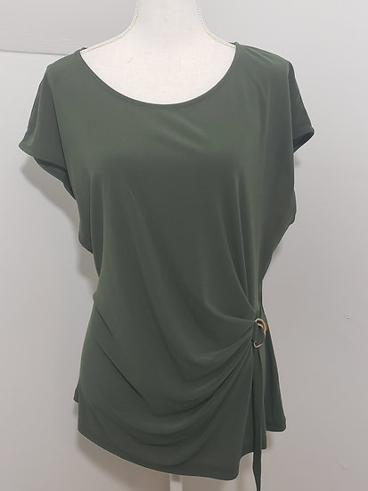 Melissa Paige Olive Green Round Neck Sleeveless Side Buckle Detail Top