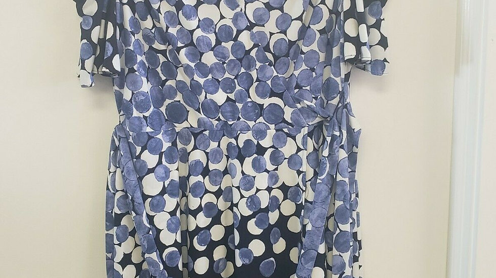 Tahari White Blue Dots V Neck Cold Shoulder Belted A-Line