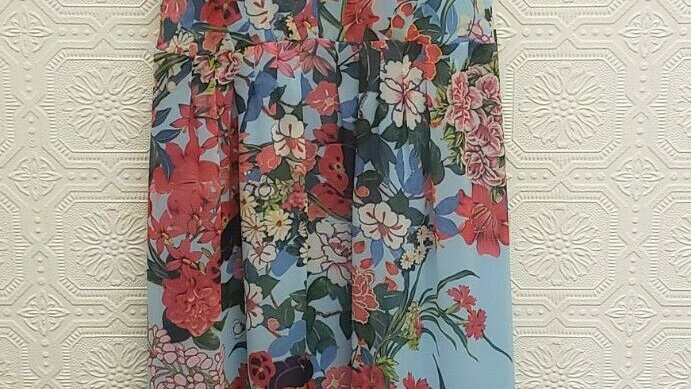 Adrianna Papell Blue Multi Floral Halter Pleated Maxi A-Line Dress NEW