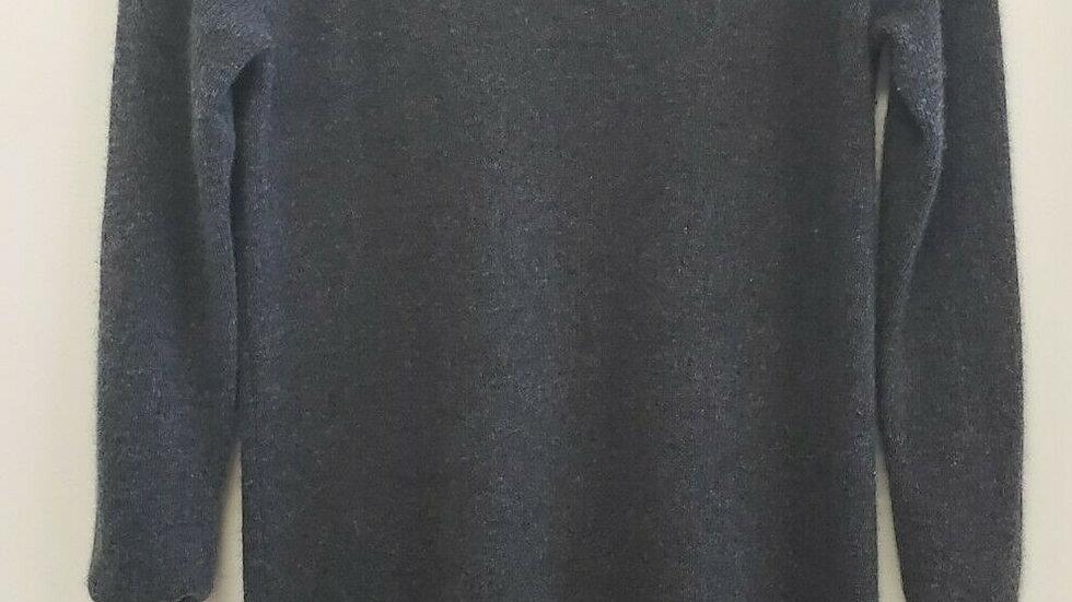White + Warren Gray Round Neck Long Sleeve Cashmere Dress