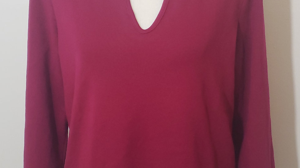 Talbots Cotton Magenta V Neck Perfect Tee-Solid Long Sleeve