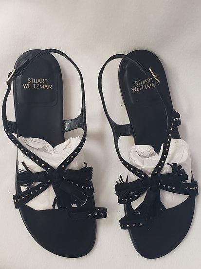 Stuart Weitzman Tassel Strap Sandal W/ Toe Ring Black W/ Gold Studs