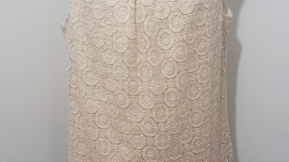 Talbots Shimmer Gold Circular Lace Round Neck Sleeveless Top