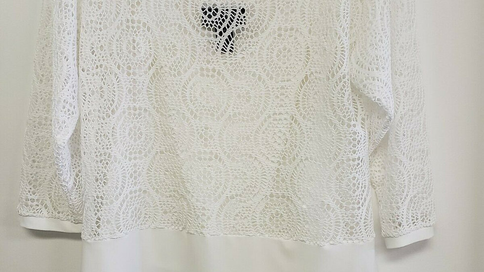 Frank Lyman White Lace Round Neck Long Sleeve 2 Piece Top
