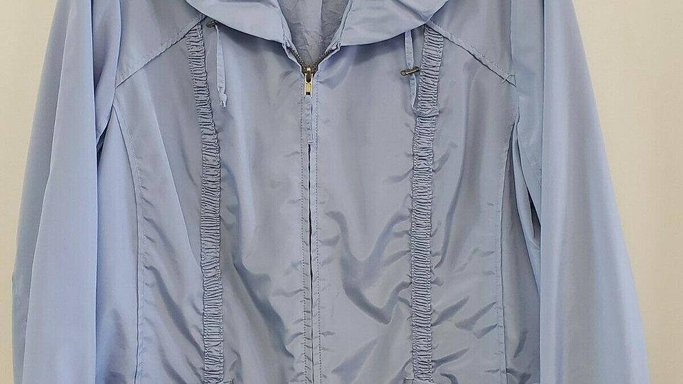 Chico's Lght Blue Zip Front Peter Pan Collar Long Sleeve Rain Jacket