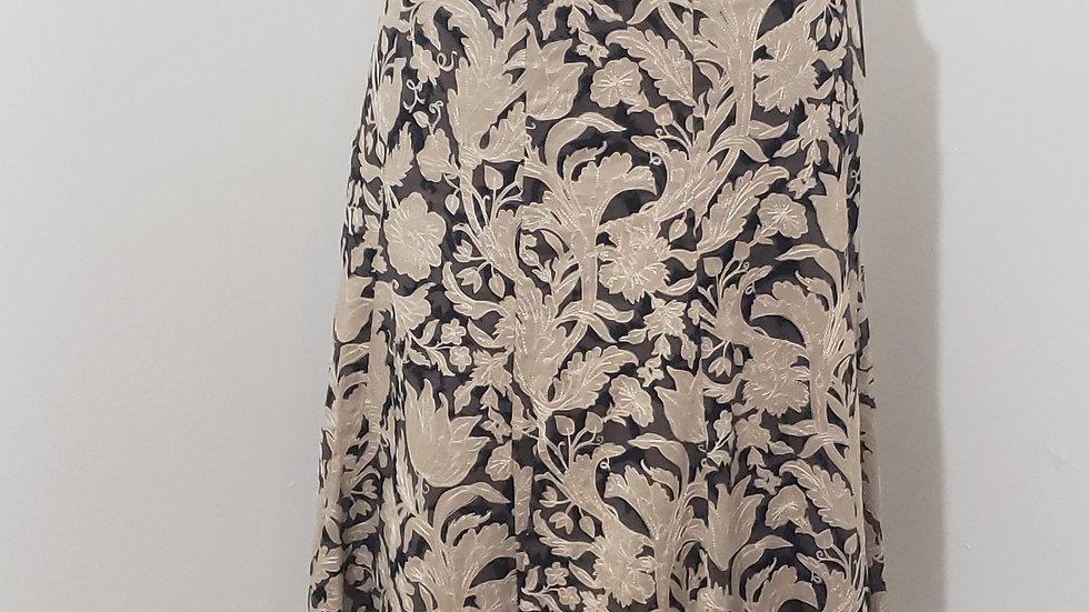 Elie Tahari Taupe/ Black Floral Cutout Side Zip Knee Length Skirt
