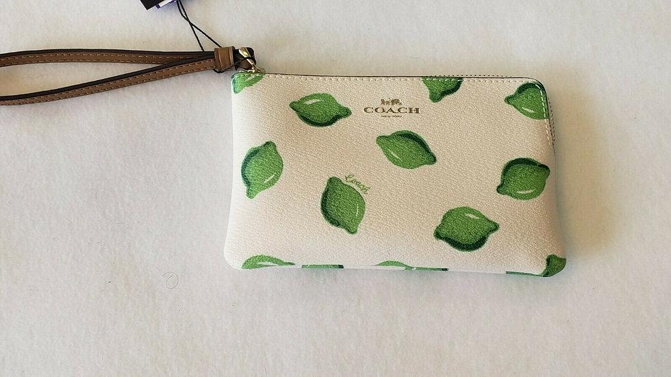 COACH 3283 Lime Print Corner Zip Wristlet Khaki Chalk Green Multi