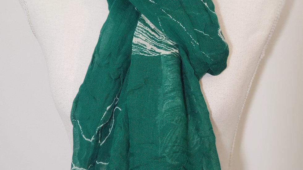 Coldwater Creek Green Embroider Leaf Design Frayed Trim Scarf