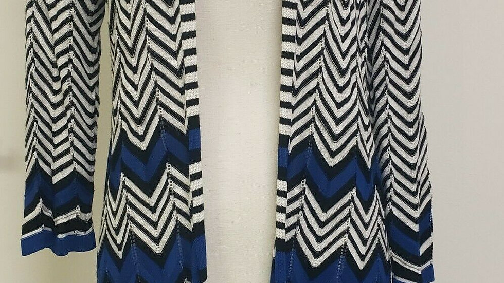 Chico's Blue White Black Chevron Open Knit Long Sleeve Cardi
