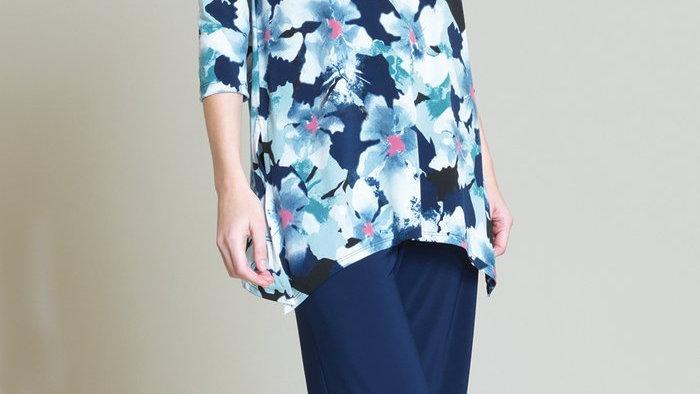 Clara Sunwoo Floral Print Side Vent Tunic - White/Navy