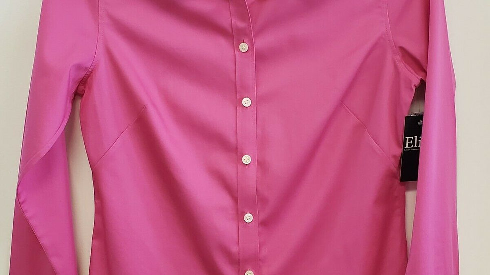 Banana Republic Pink No-Iron Button Front Collared Long Sleeve Top