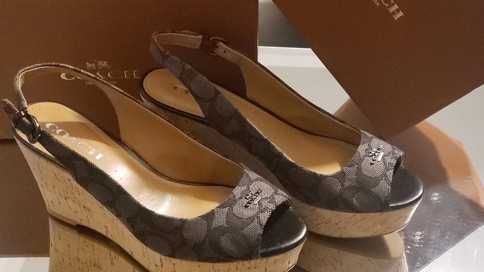 Coach Ferry Logo Wedge Sandals Grey/ Black AO1057 Size 8