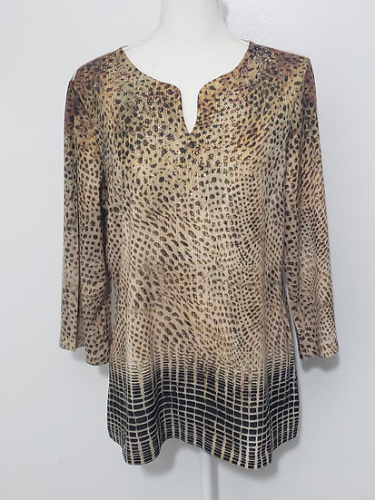 Chico's Brown Y Neck Crystal Accent 3/4 Sleeve Top