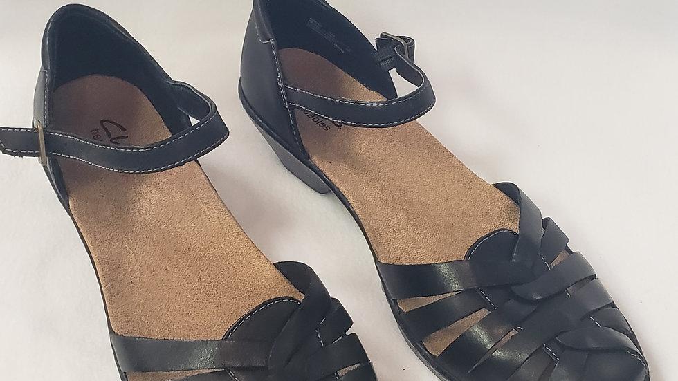 Clarks Tatianna Bendable Black Leather Side Buckle Shoe