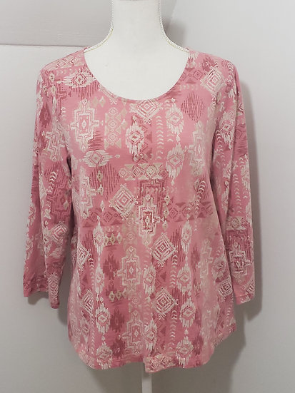 Coldwater Creek Pink Mixed Media Round Neck 3/4 Sleeve Cotton Top