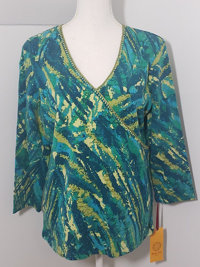 NEW Ruby Rd Multi Green V-Neck Long Sleeve Cotton Top
