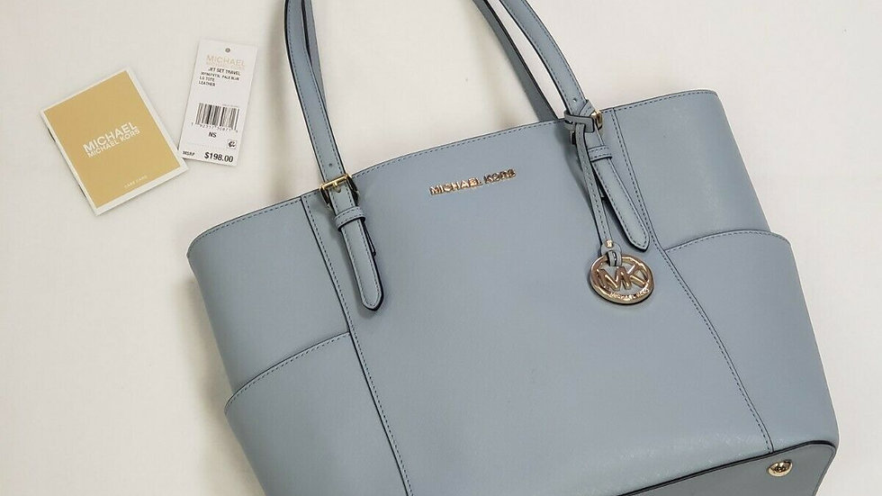 Michael Kors MK Jet Set Item E/W Top-Zip Tote (Pale Blue) New With Tags