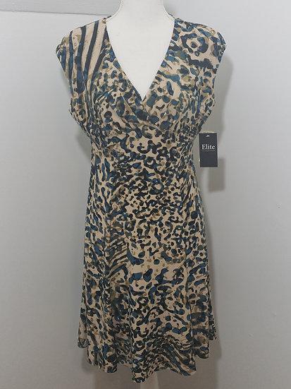 Jones New York Brown / Blue V Neck Cap Sleeve A-line Dress