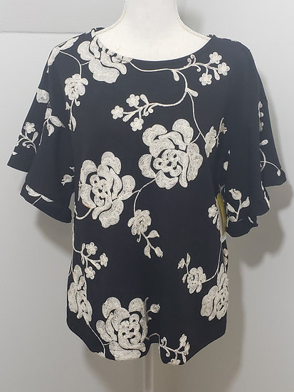 Beige by ECI Black Floral Embroider Round Neck 1/2 Bell Sleeve Top