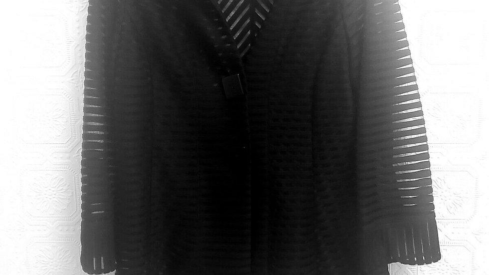 IC Collection Black Satin Chevron Sheer Mesh Inset Button Front Mock Collar