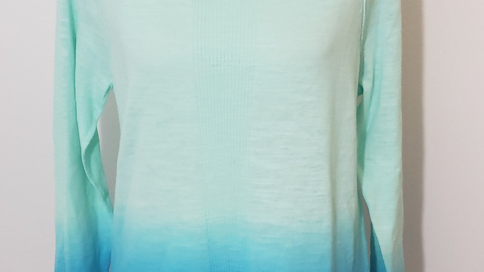 Lauren Active Green Blue Ombre' Round Neck Long Sleeve Top Blouse