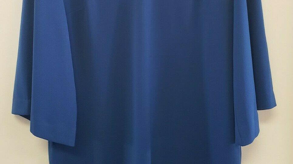 Chico's Duchess Blue Kimono Sleeve Round Neck Short Dress