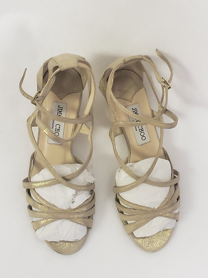 Jimmy Choo Suede Strappy Cork Wedge Sandals Shimmer Gold