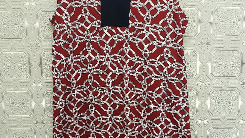 Talbots Red Cotton Rope Motif V Neck Sleeveless Shift Style Dress