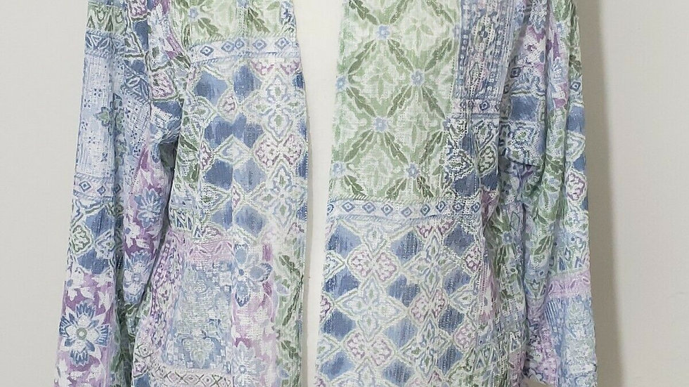 New Alfred Dunner Pastel Multicolor Open Drape Front Knit Cardigan