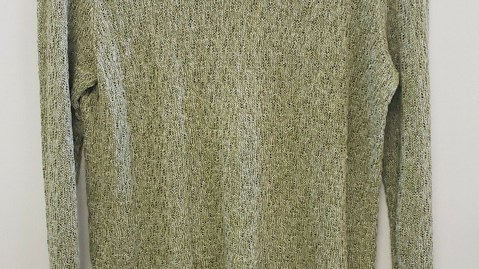 Eileen Fisher Green Bateau Neck Long Sleeve Knit Light Weight Sweater