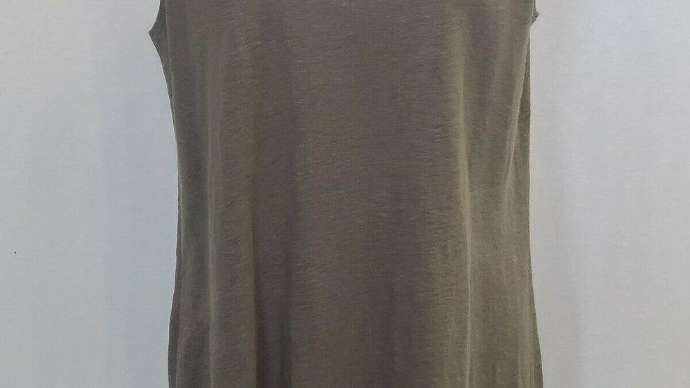 Ladies Eileen Fisher Heather Gray Scoop Neck Long Tank Linen Sequins Size Medium