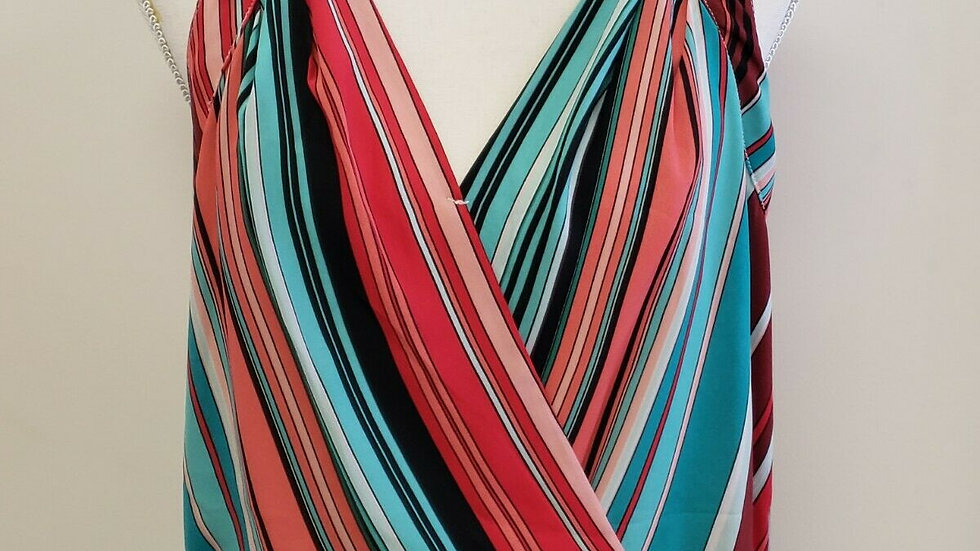 New York & Company Multi Striped V Neck Banded Hem Sleeveless Summer Top