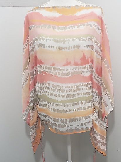 Ruby Rd Sheer Pastel Poncho Cinched Draw Strings Cap Sleeve Top