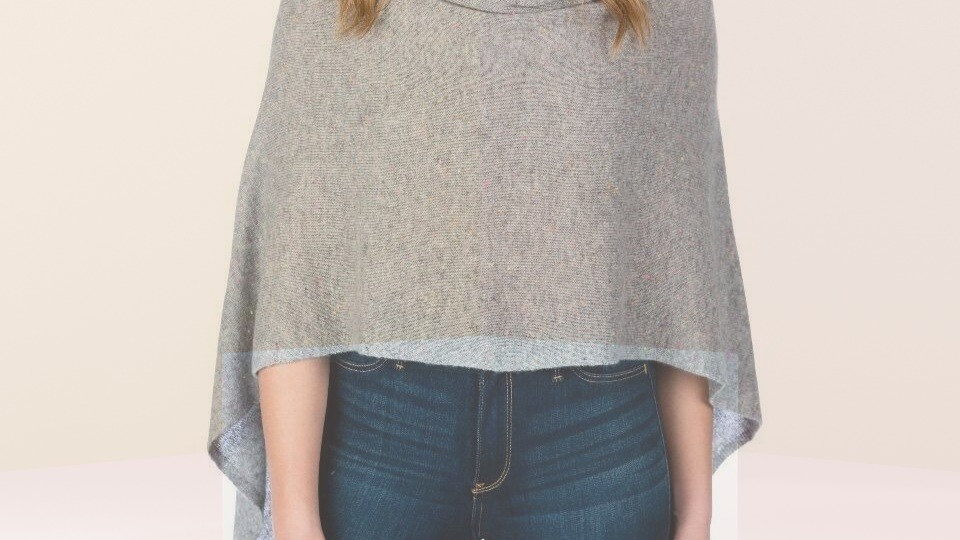 St. Tropez Cashmere Dress Topper in gray heather