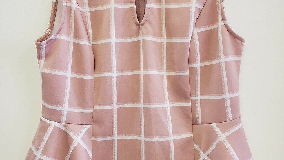 New York & Company Pink White Plaid Peplum Sleeveless Top