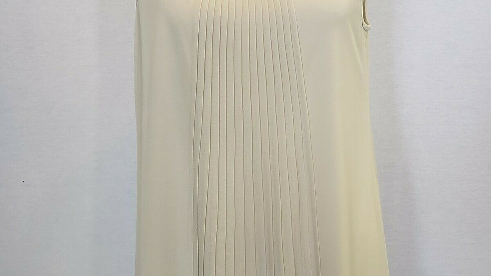 Ladies Eileen Fisher Bone Silk Georgette Crepe Pleated Long Shell Tank