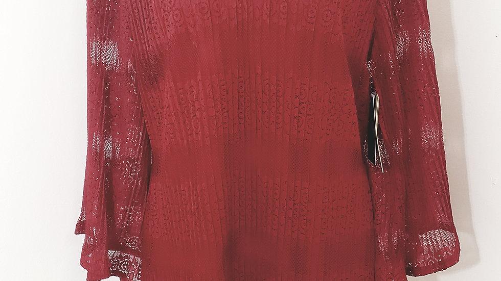 Reba V Neck Red Lace Gala Flutter Long Sleeve Blouse