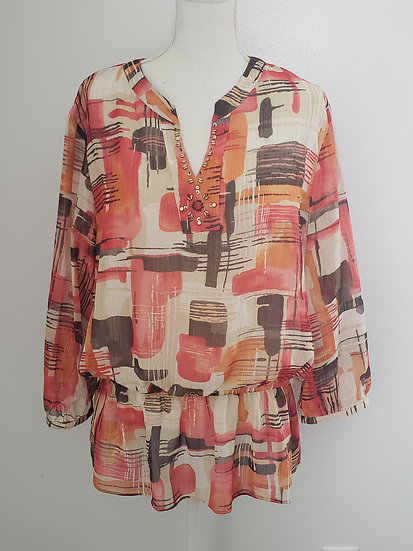 Alfred Dunner Tan Coral Abstract Y Neck Long Sleeve Peplum  Blouse