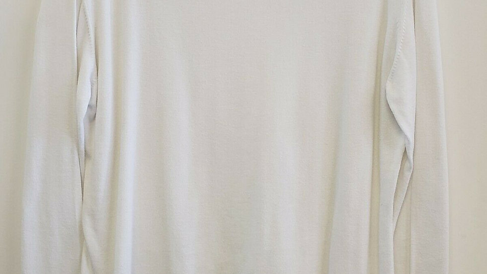 Debra C Beverly Hills White Bateau Neck Pima Cotton Long Sleeve Top