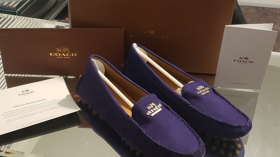 COACH Nancy Nubuck Loafer Violet (Coach Q 6359) New In Box